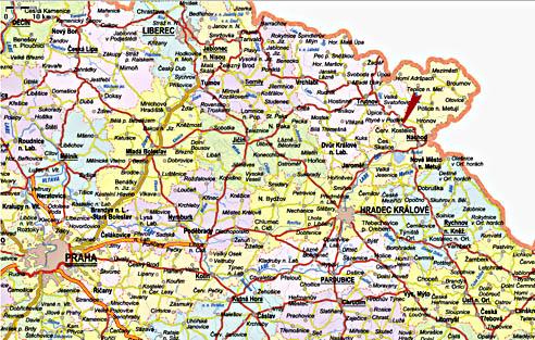 Mapa Východních Čech